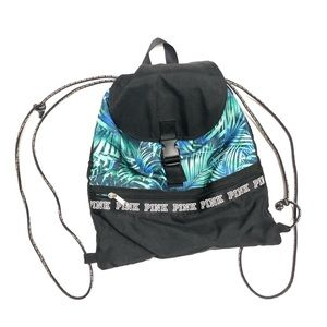 Palm Tree Drawstring Nylon Backpack